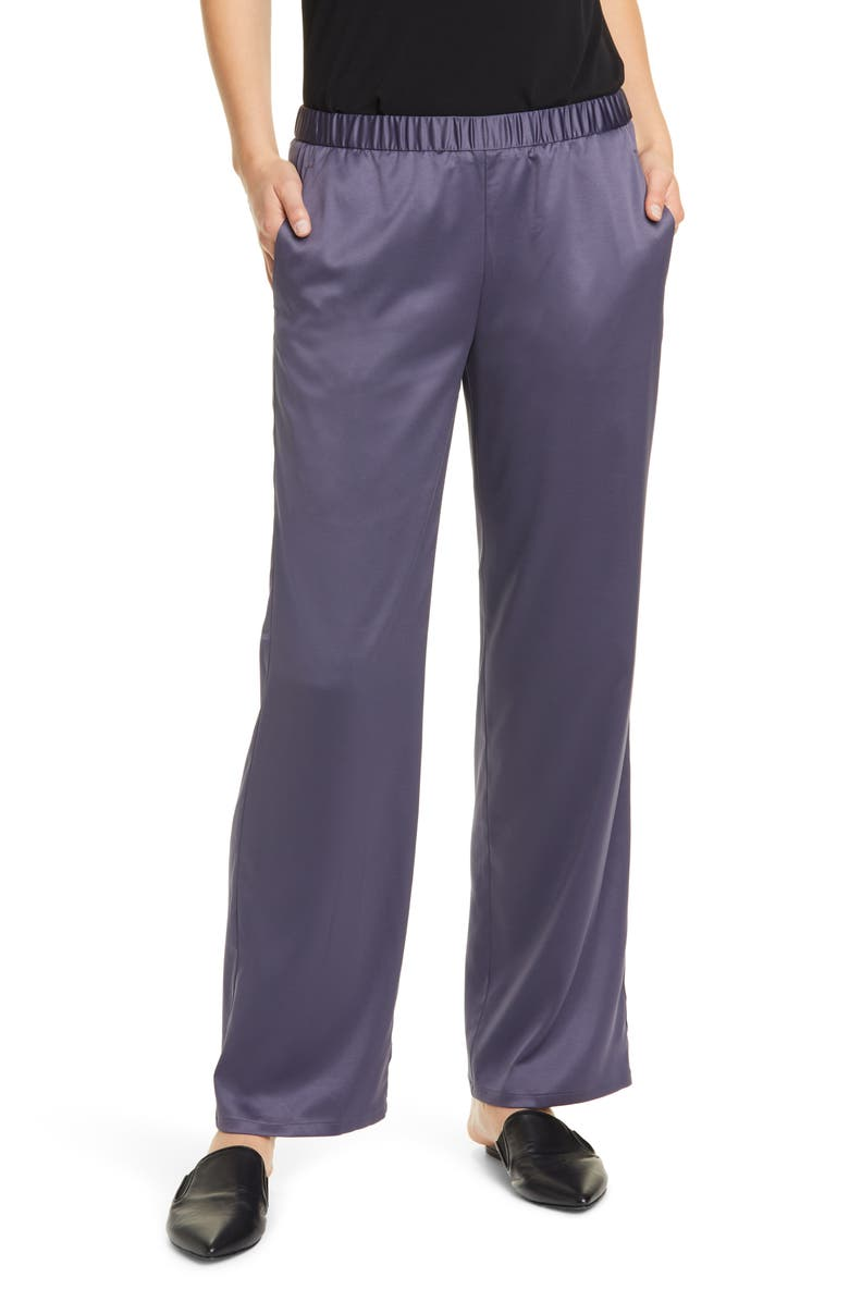 EILEEN FISHER Pull-On Straight Leg Recycled Polyester Pants, Main, color, BLUE SHALE