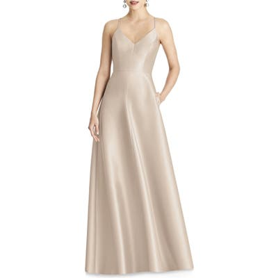 Plus Size Alfred Sung Strappy Sateen A-Line Gown, Beige