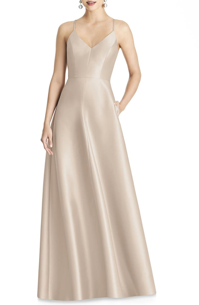 ALFRED SUNG Crossback Satin Twill A-Line Gown, Main, color, CAMEO