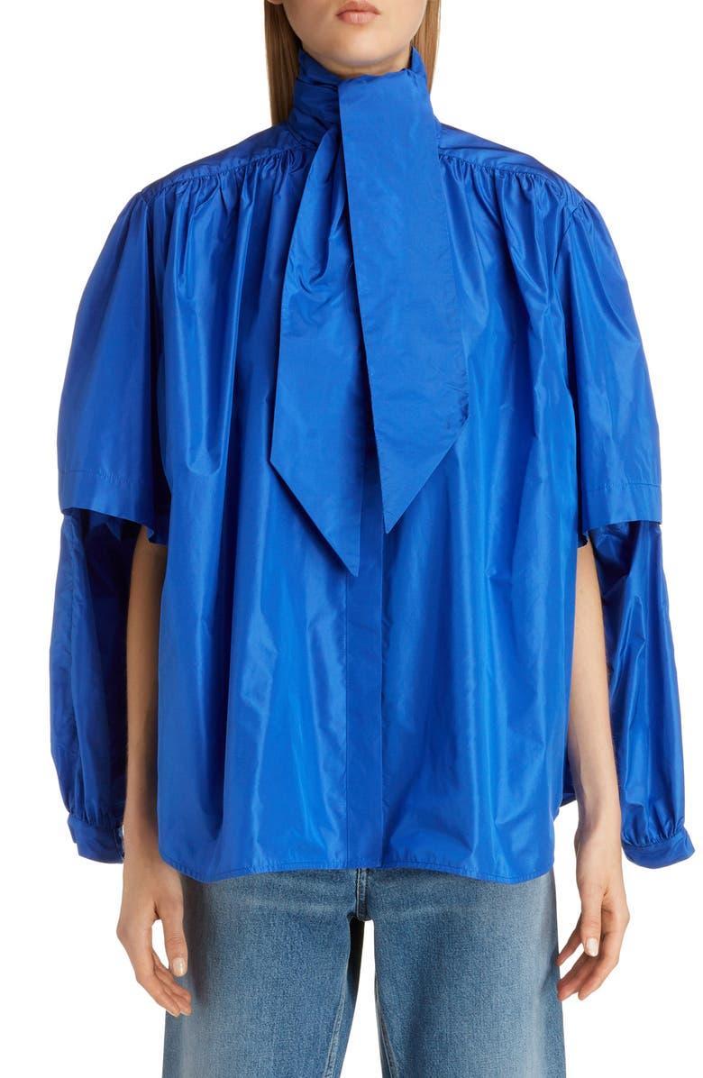 BALENCIAGA Double Sleeve Silk Taffeta Blouse, Main, color, ROYAL BLUE