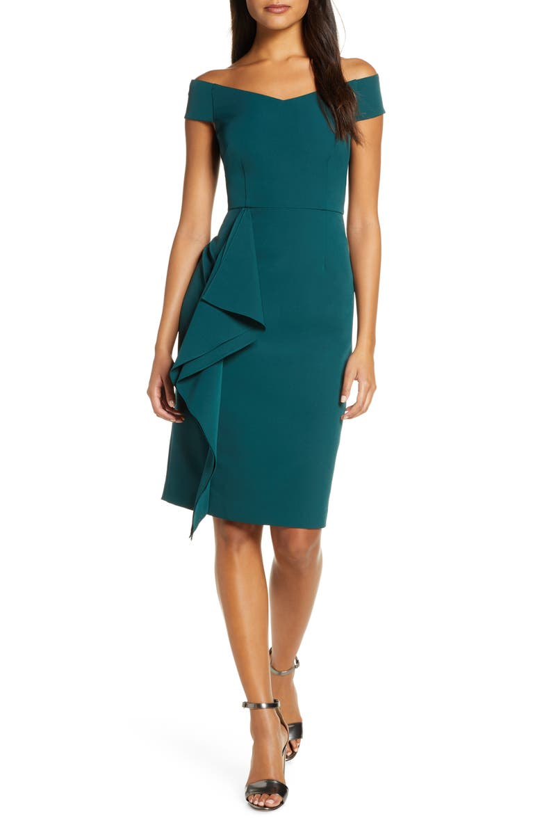 VINCE CAMUTO Off the Shoulder Front Ruffle Cocktail Dress, Main, color, 301