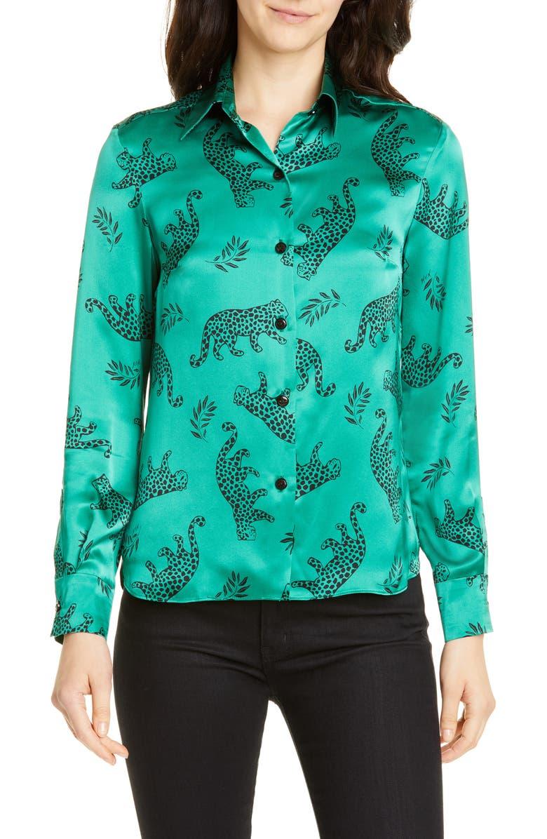 HVN Cristina Silk Blouse, Main, color, GREEN SHINY TARZAN LEOPARD
