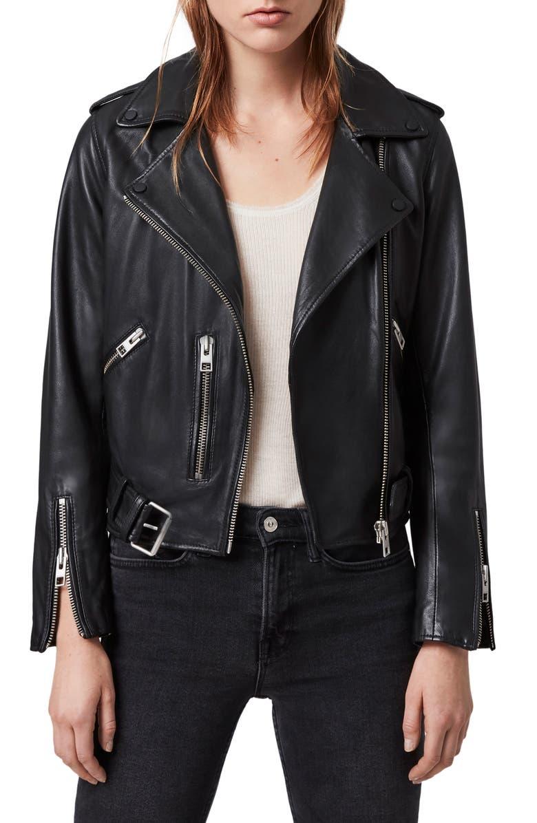 ALLSAINTS Balfern Leather Biker Jacket, Main, color, 001
