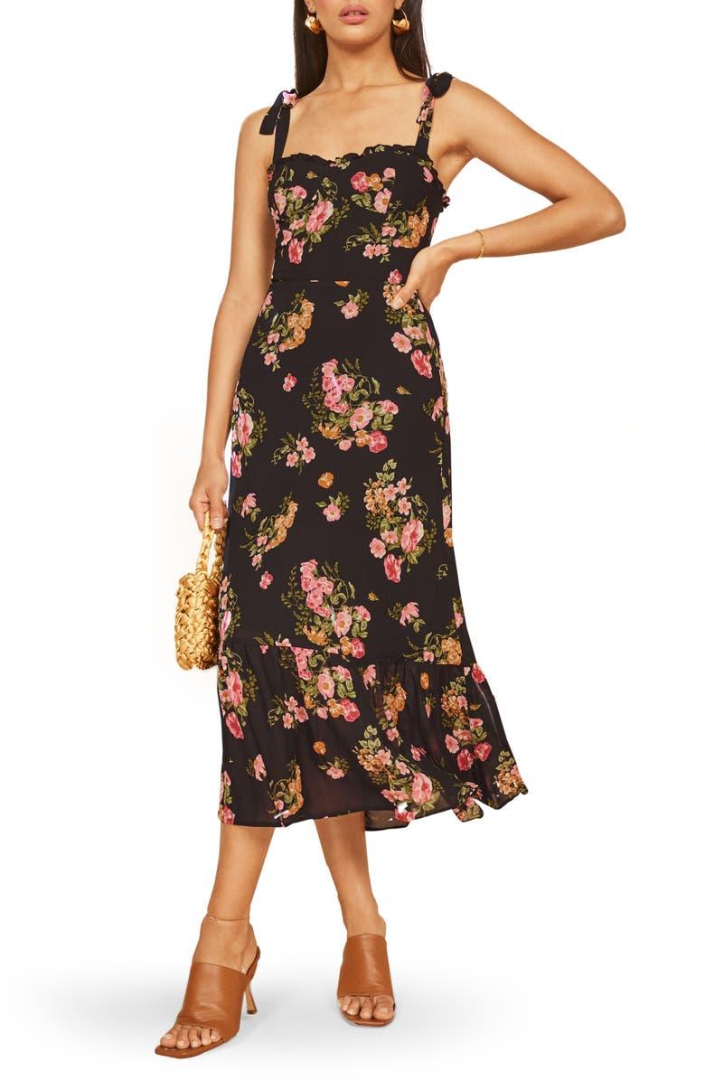 REFORMATION Nikita Midi Dress, Main, color, CARMELINA