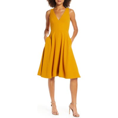 Dress The Population Catalina Fit & Flare Dress, Yellow