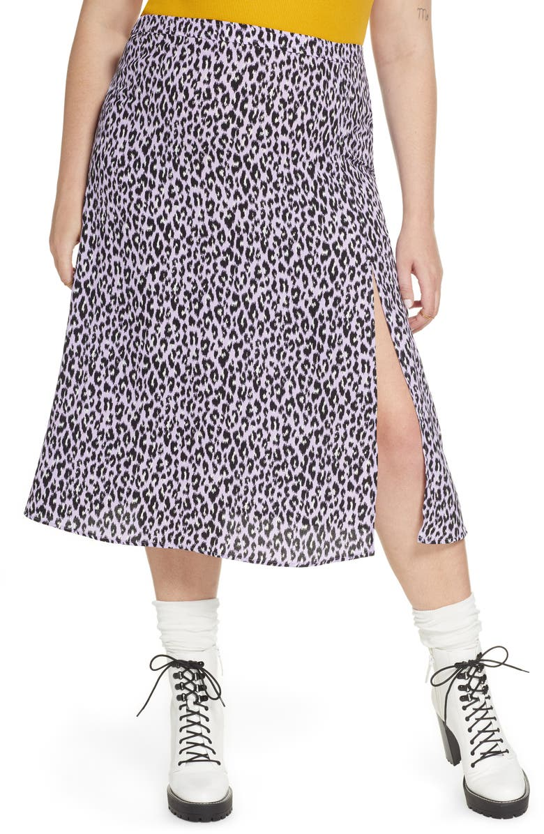 BP. x Claudia Sulewski Front Slit Midi Skirt, Main, color, PURPLE BETTA LEOPARD