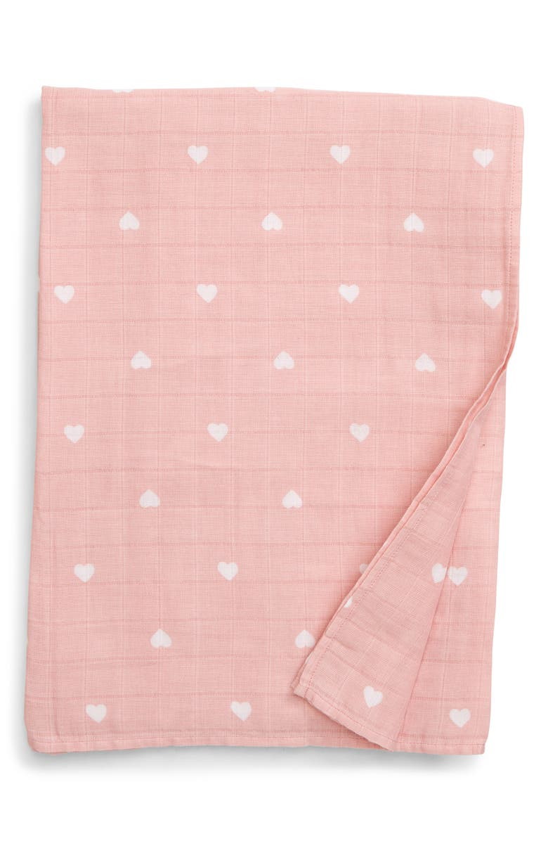 NORDSTROM BABY Cotton Swaddle Blanket, Main, color, PINK BRIDE HEARTS