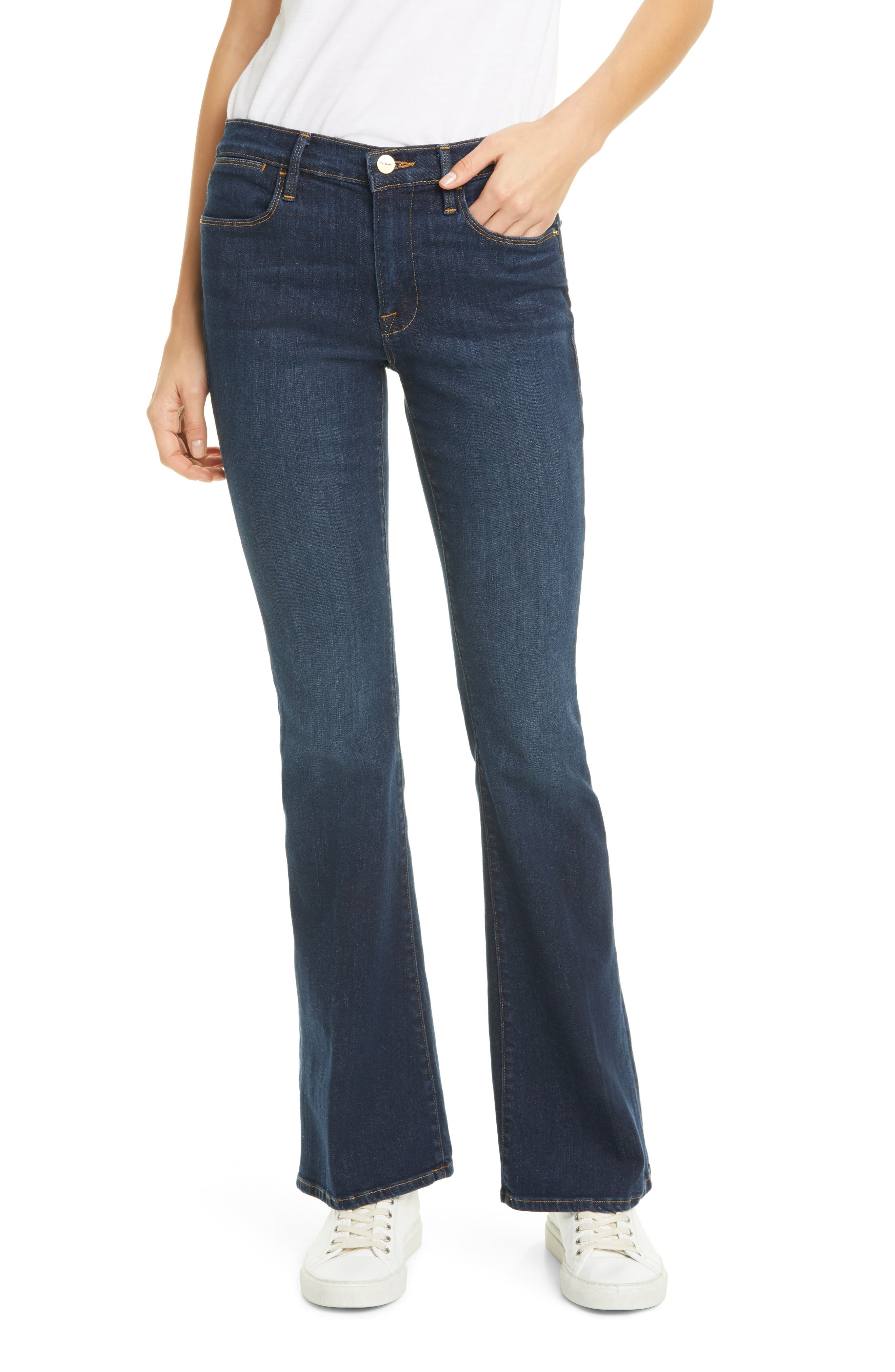 Petite Women's Frame Le Pixie High Waist Flare Jeans