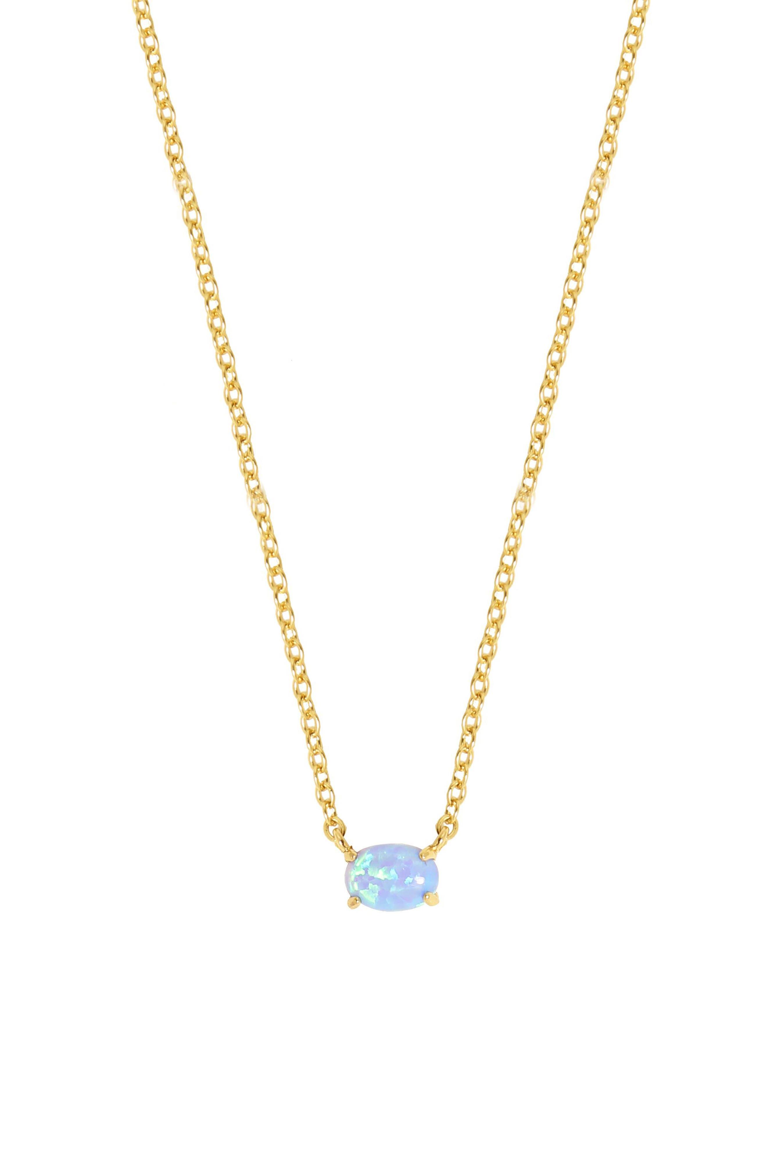 Blue Opal Pendant Necklace