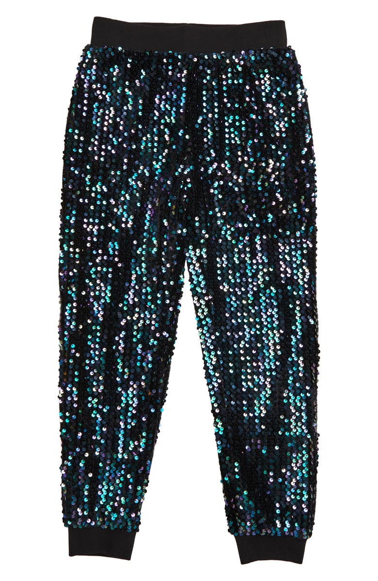 HABITUAL Gia Sequin Jogger Pants, Main, color, BLACK