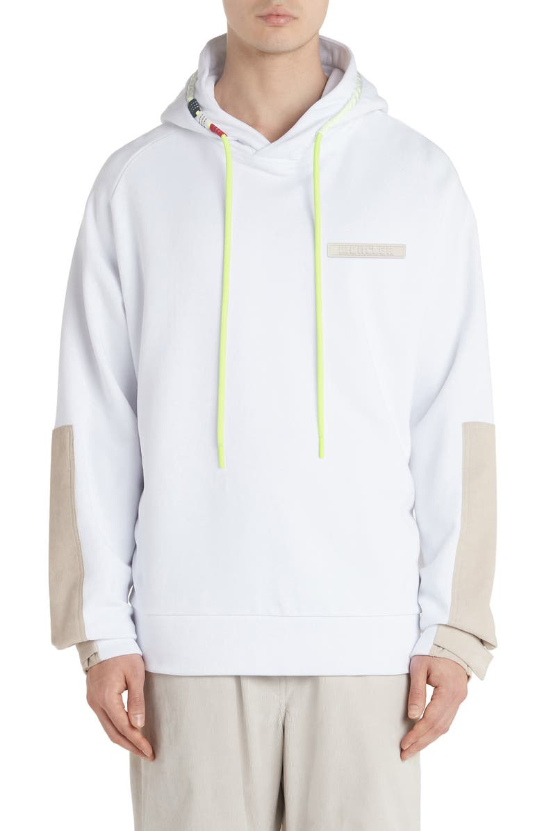 MONCLER Corduroy Patch Pullover Hoodie, Main, color, WHITE