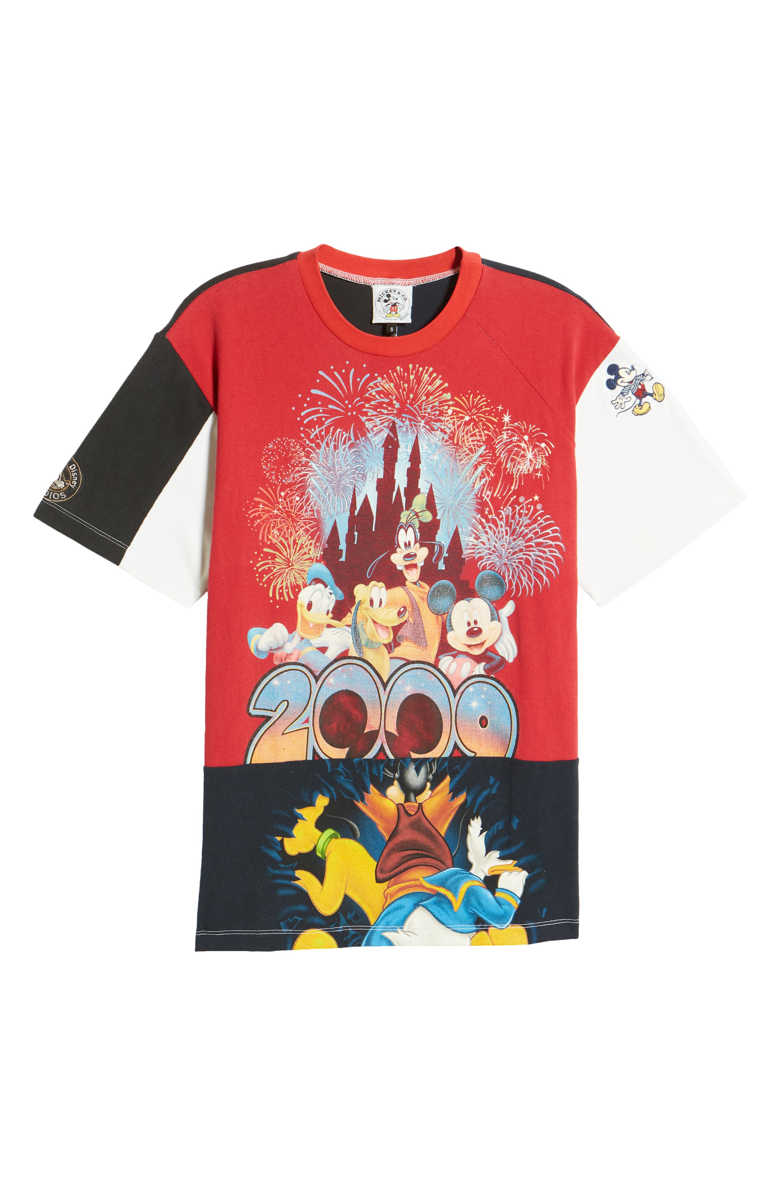 Unisex Upcycled 2009 Mickey & Friends Patchwork Graphic Tee