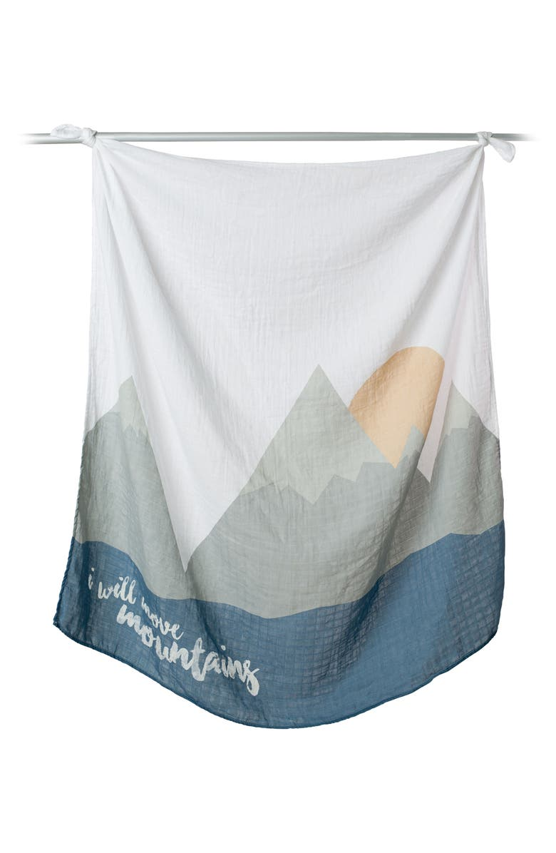 LULUJO Baby's First Year - I Will Move Mountains Muslin Blanket & Milestone Card Set, Main, color, WILL MOVE MOUNTAINS