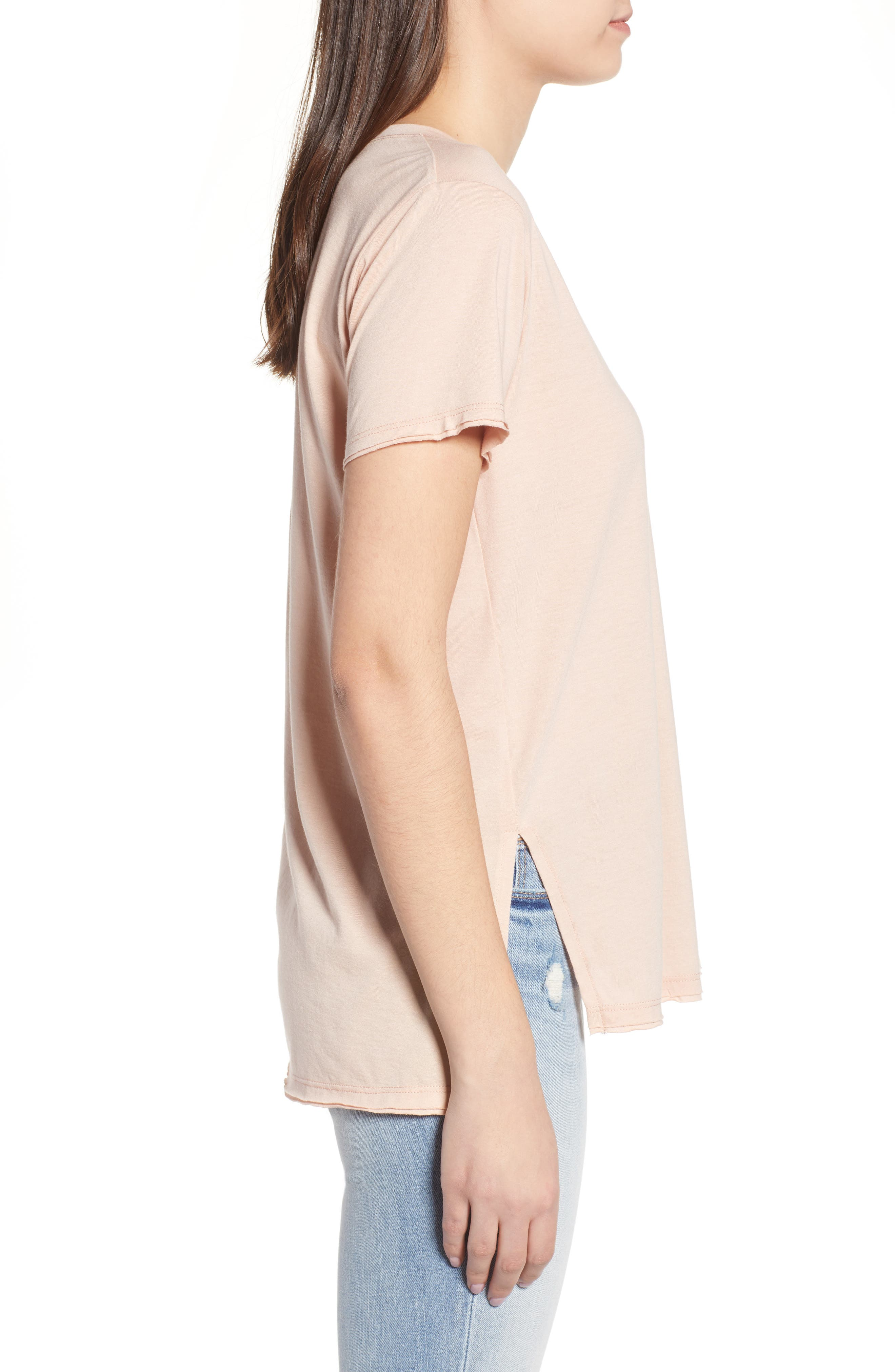 ,                             Raw Edge Side Slit Tee,                             Alternate thumbnail 9, color,                             650