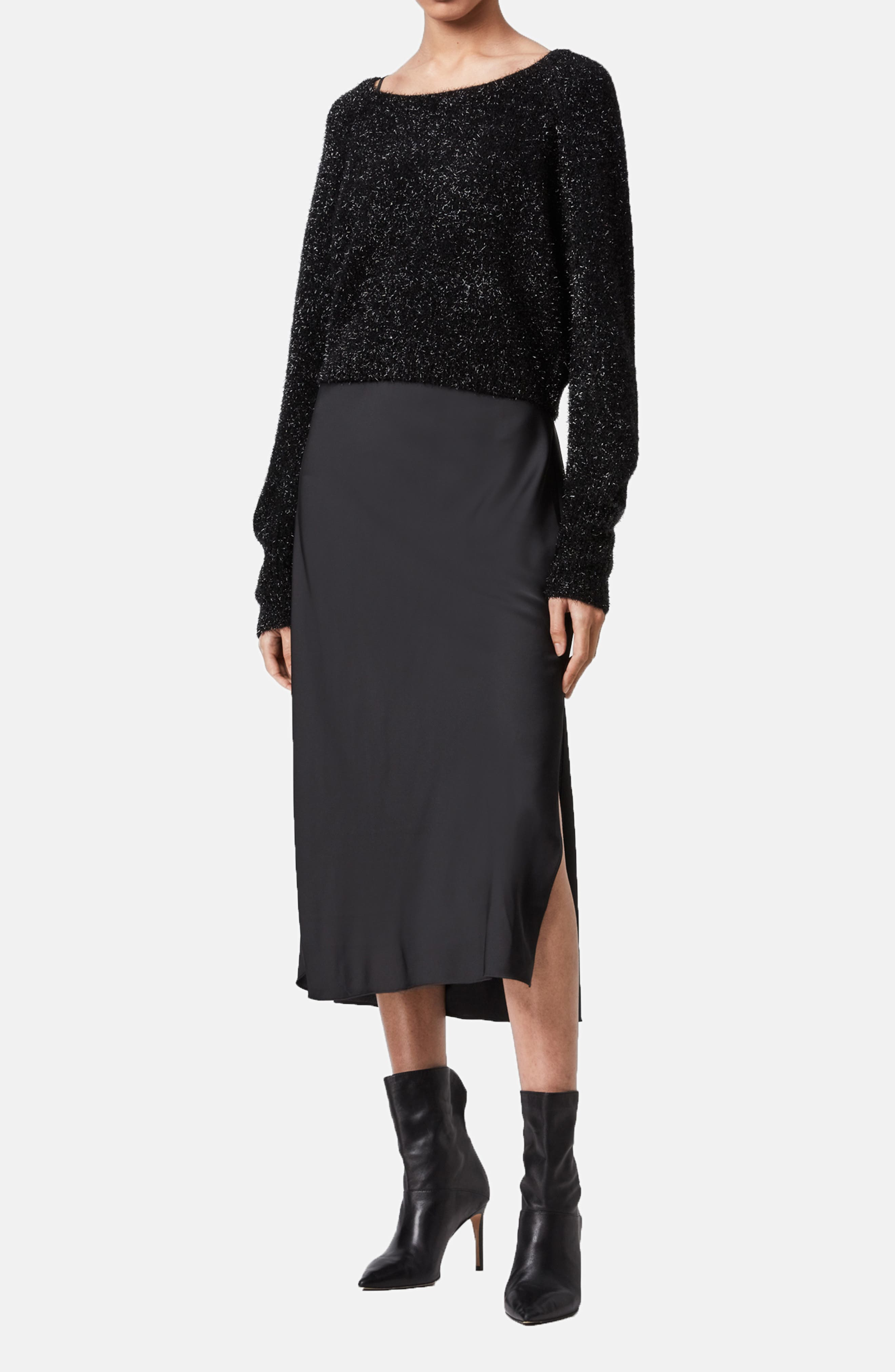 Image of ALLSAINTS Rosetta Tinsel Two Piece Sweater & Slipdress