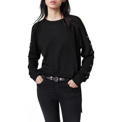 Allsaints Cross Lace-Up Sleeve Merino Wool Sweater, Black