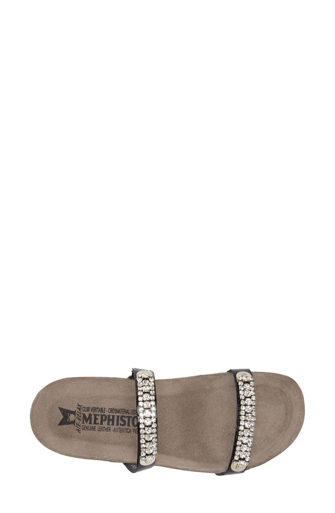 ,                             'Ivana' Crystal Embellished Slide Sandal,                             Alternate thumbnail 3, color,                             BLACK PATENT