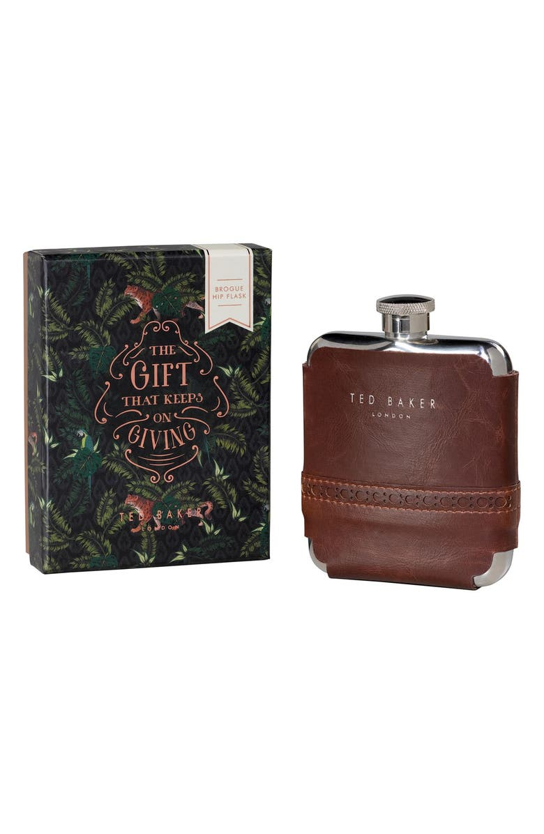 WILD & WOLF Wild and Wolf x Ted Baker London Brogue Hip Flask, Main, color, 200