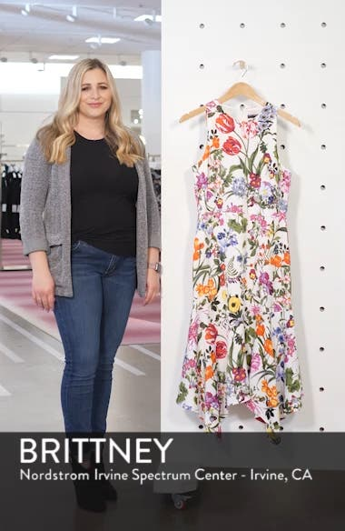 Floral Print Charmeuse Midi Dress, sales video thumbnail