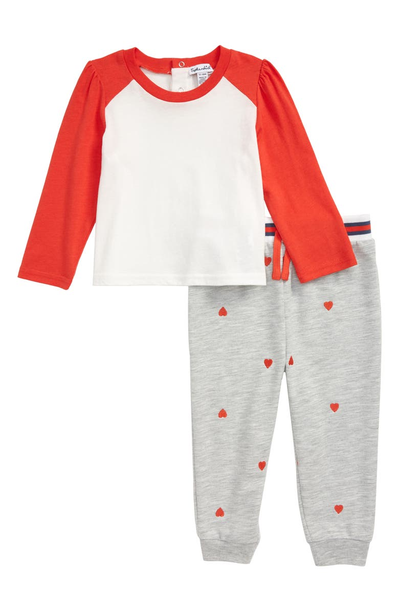 SPLENDID Long Sleeve Shirt & Heart Embroidered Jogger Pants Set, Main, color, CORALICIOUS