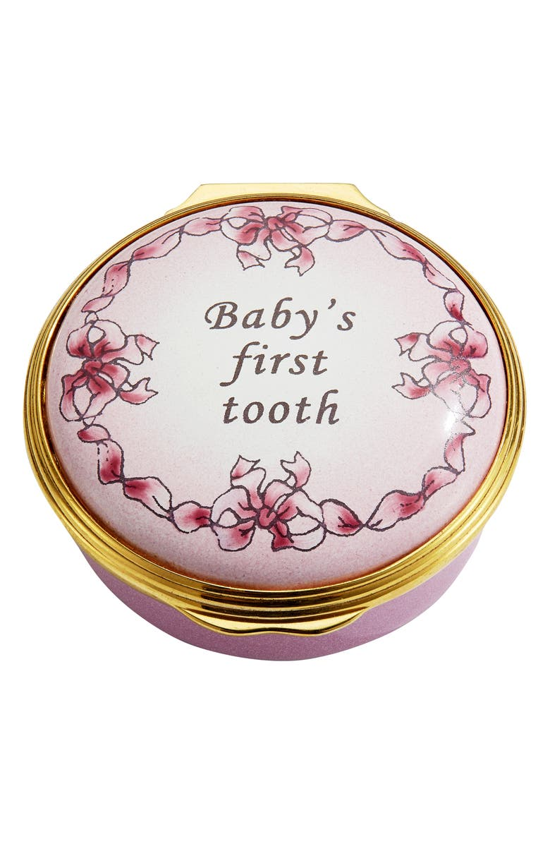 HALCYON DAYS Baby's First Tooth Enamel Box, Main, color, PINK