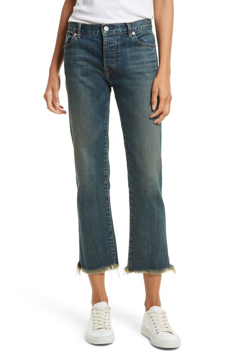NILI LOTAN Raw Edge Crop Boyfriend Jeans, Main, color, 403