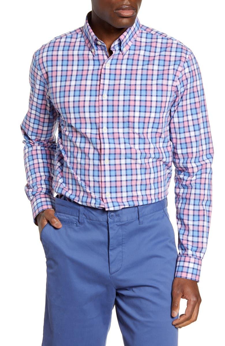 JOHNNIE-O Sutton Classic Fit Check Button-Down Shirt, Main, color, GULF BLUE