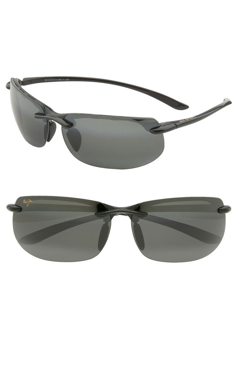 MAUI JIM Banyans PolarizedPlus<sup>®</sup>2 67mm Rectangle Sunglasses, Main, color, GLOSS BLACK / NEUTRAL GREY