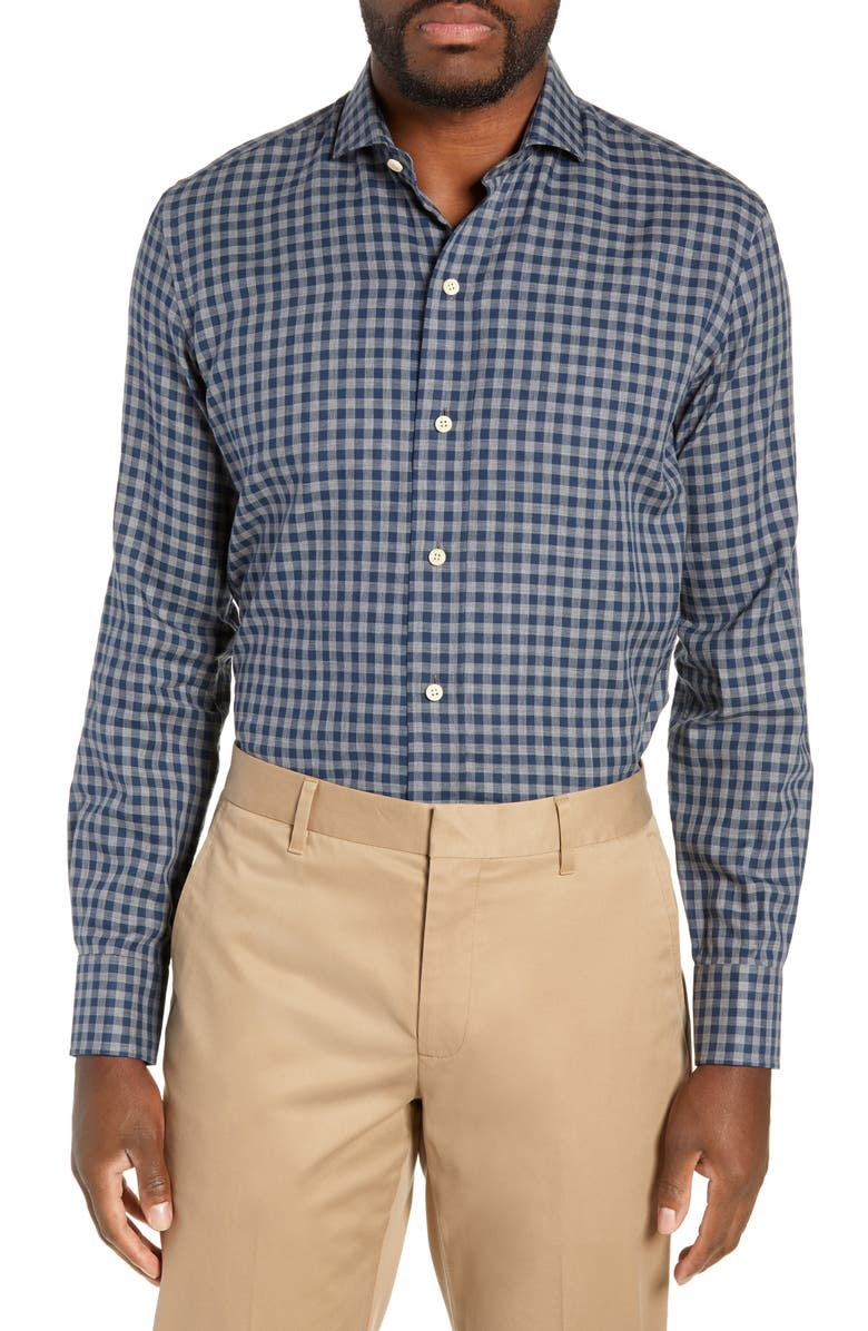 LEDBURY Delham Slim Fit Check Dress Shirt, Main, color, AEGEAN BLUE