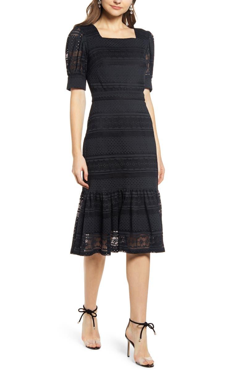 RACHEL PARCELL Square Neck Lace Dress, Main, color, BLACK