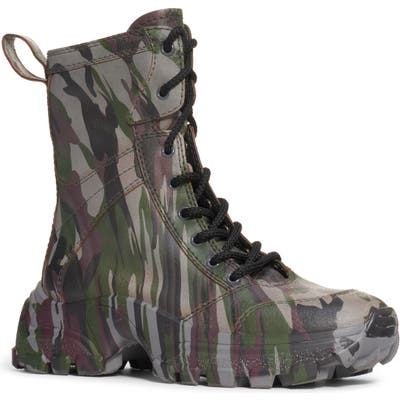 Miu Miu Camo Lace-Up Boot, Green