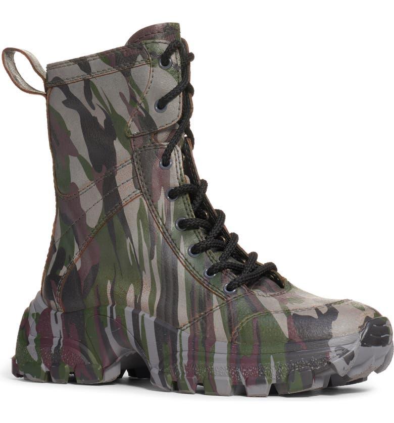MIU MIU Camo Lace-Up Boot, Main, color, MILITARY GREEN