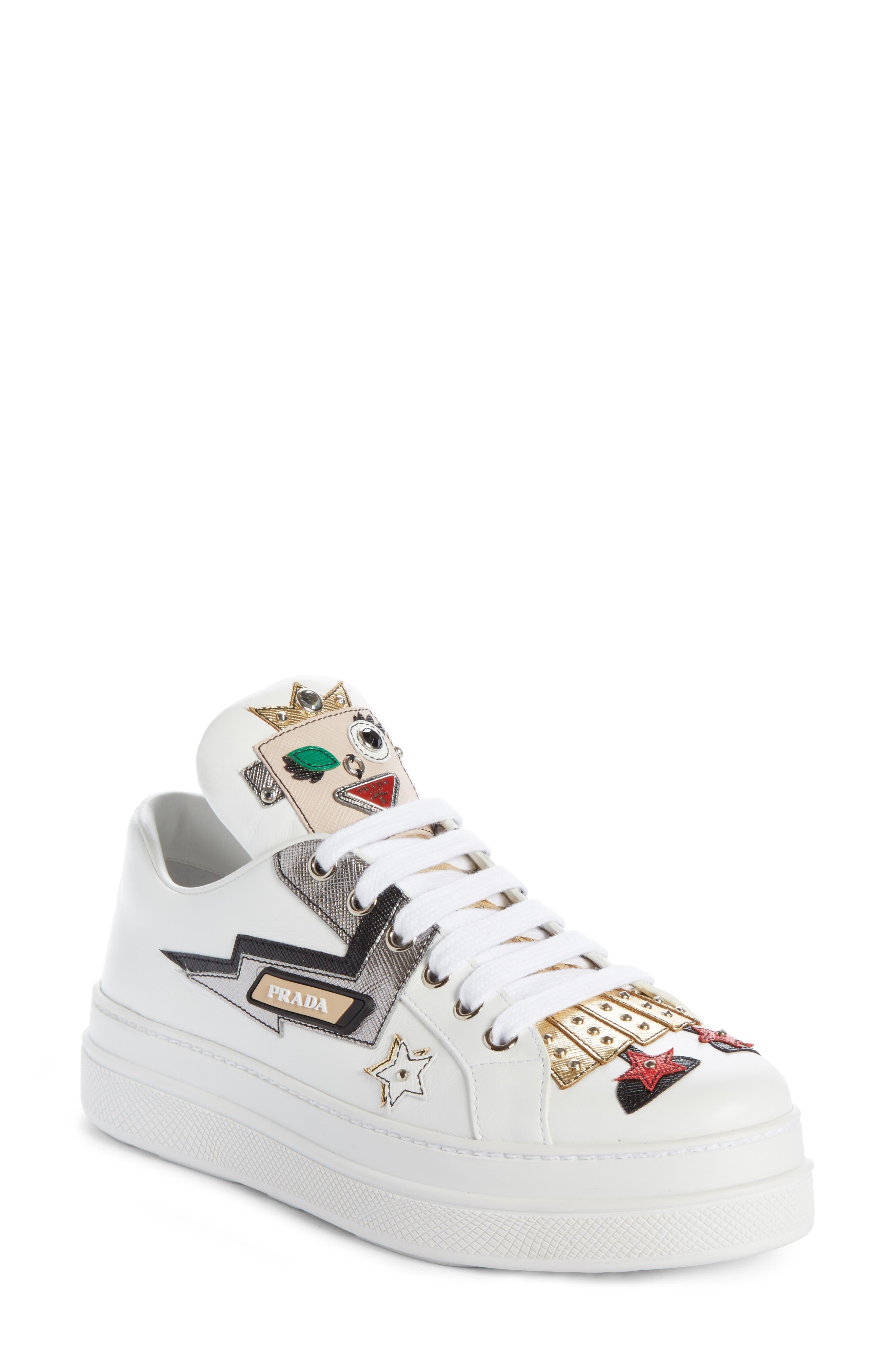 Prada Platforms Embellished Platform Sneaker