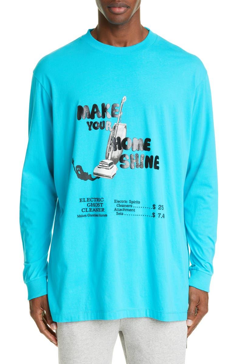 MARCELO BURLON Ghostcleaner Long Sleeve T-Shirt, Main, color, TURQUOISE