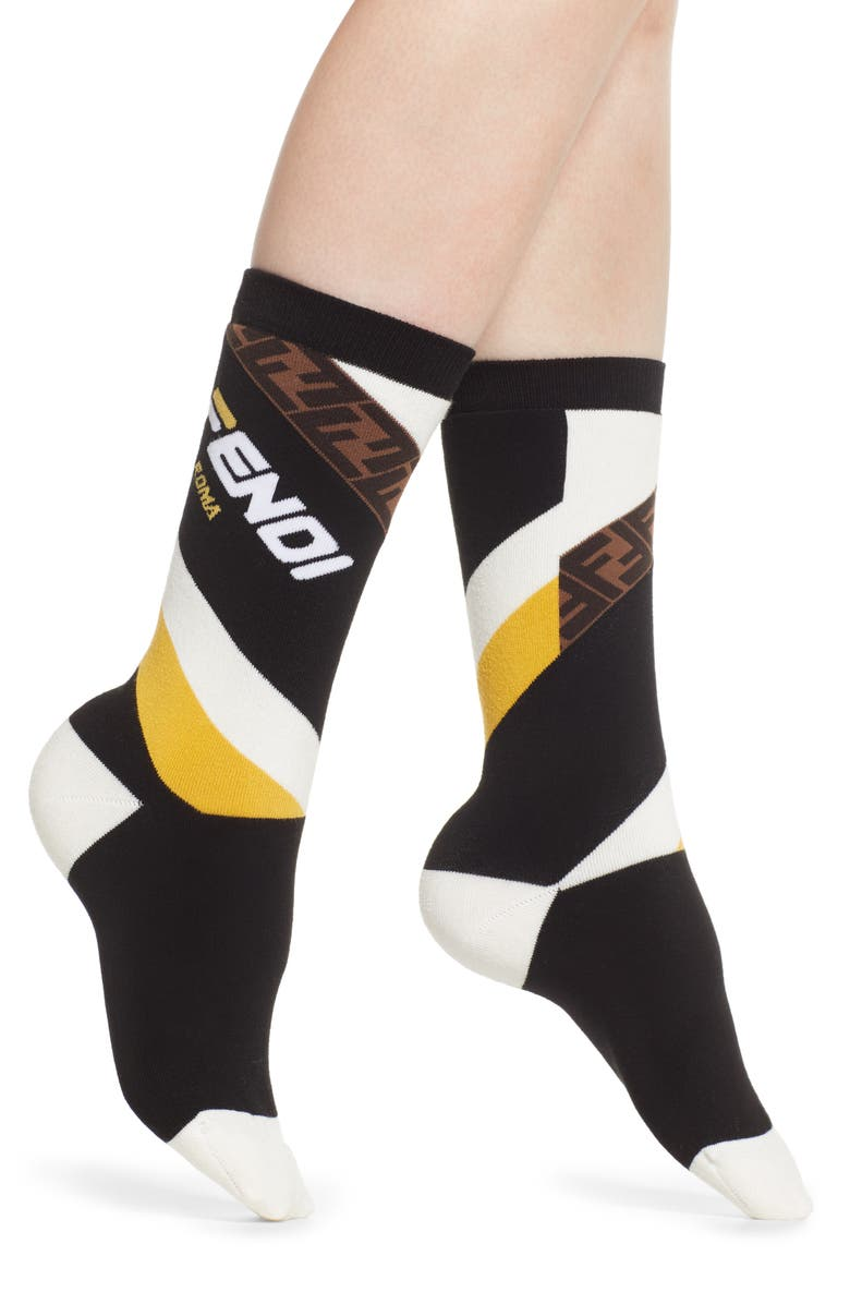 FENDI x FILA Mania Logo Socks, Main, color, 005