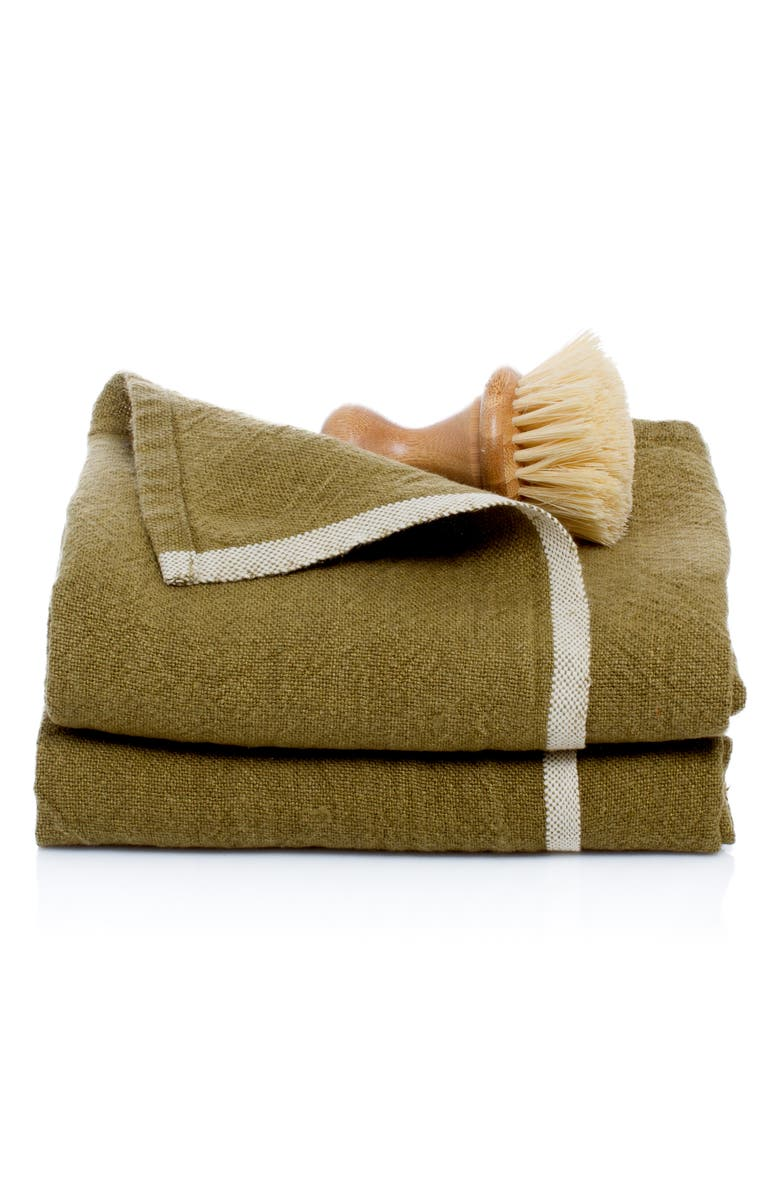 CARAVAN Set of 2 Chunky Linen Hand Towels, Main, color, FOREST GREEN
