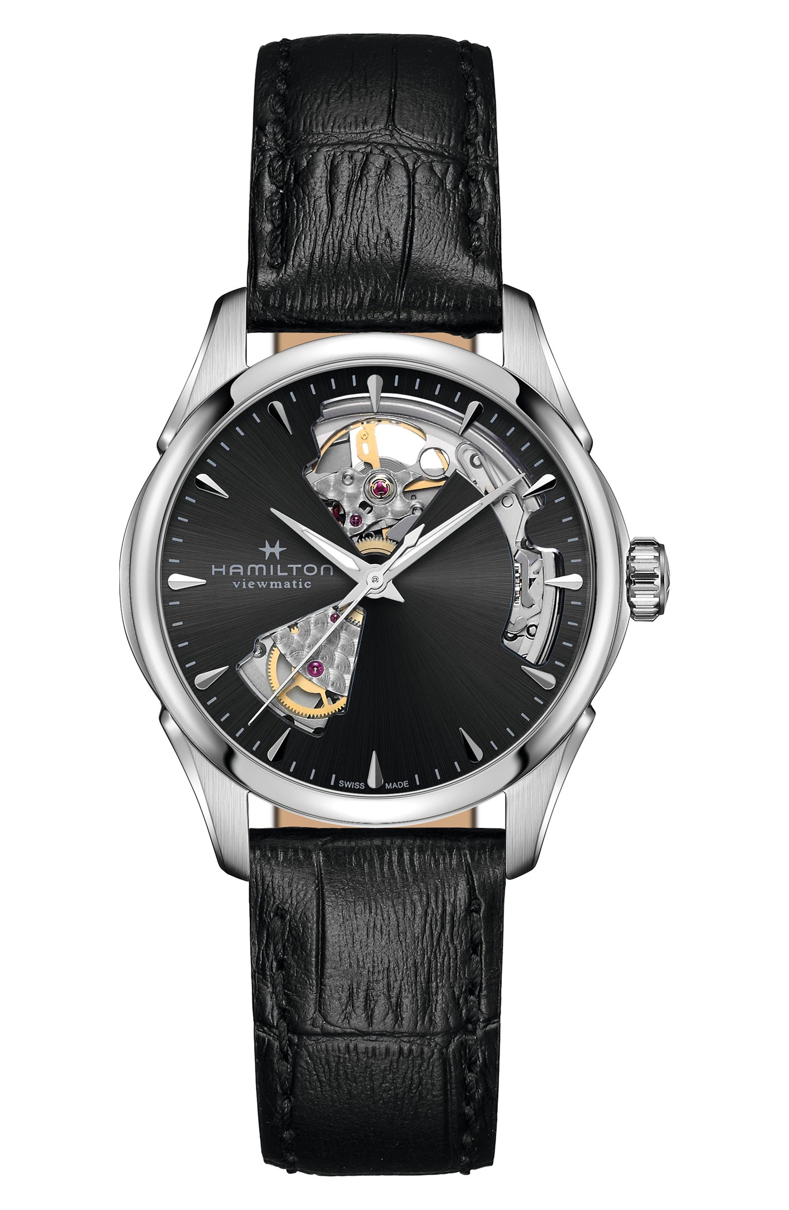 Jazzmaster Open Heart Leather Strap Watch