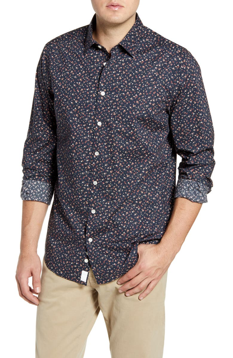 RODD & GUNN Knights Point Regular Fit Floral Button-Up Sport Shirt, Main, color, MIDNIGHT