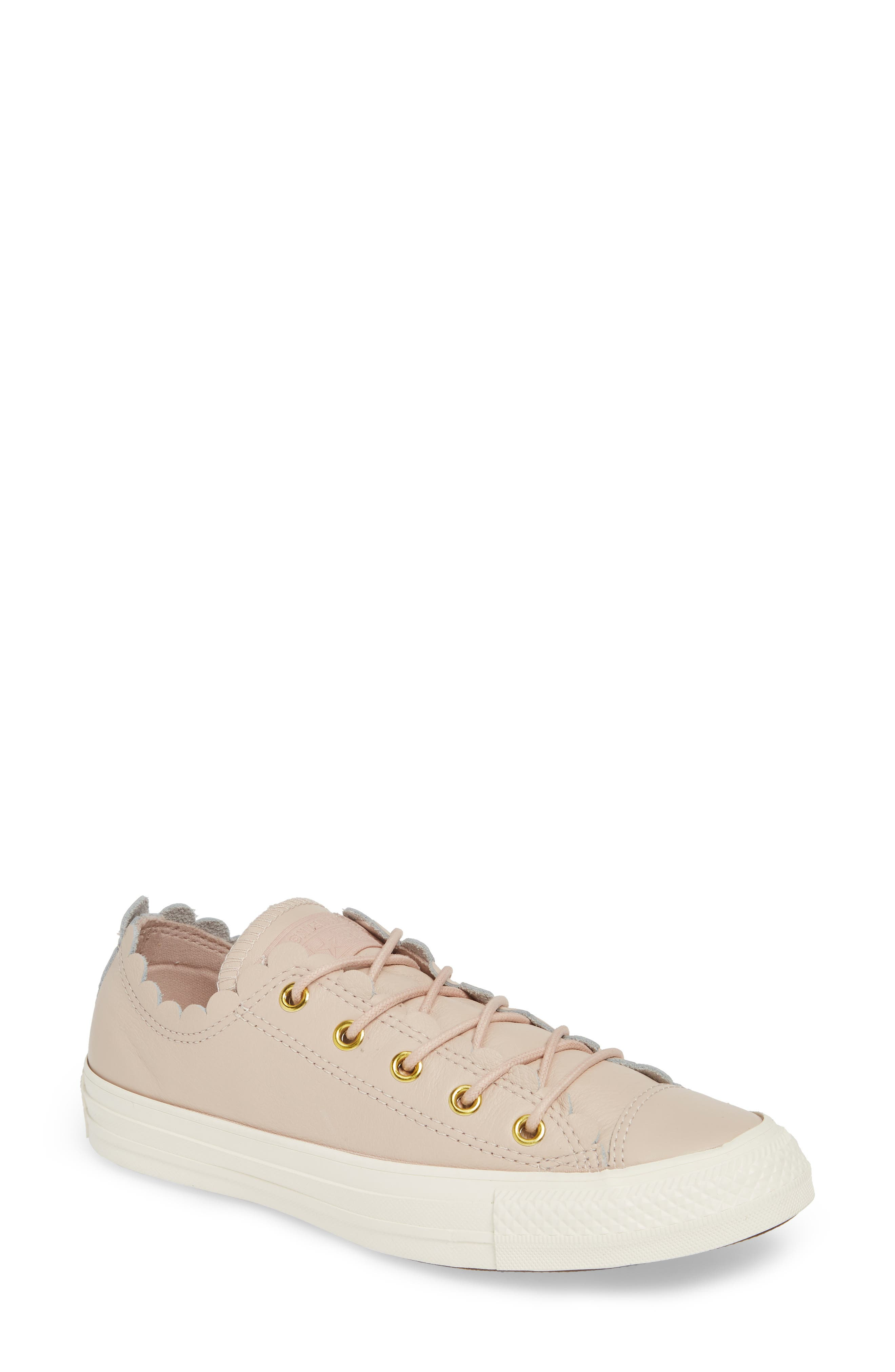 Converse Chuck Taylor All Star Scallop Low Top Leather Sneaker, Pink