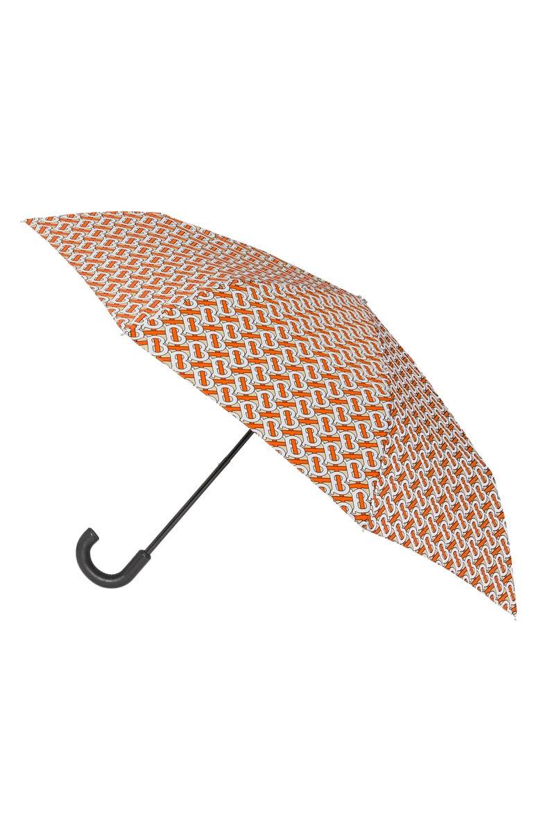 BURBERRY Trafalgar TB Monogram Umbrella, Main, color, VERMILLION