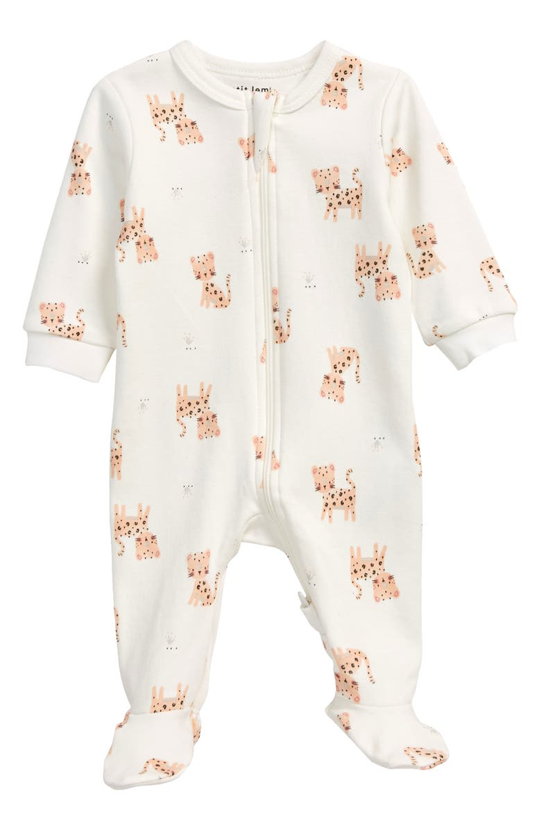 PETIT LEM Baby Leopard Fitted Organic Cotton One-Piece Pajamas, Main, color, 101 OFF WHITE