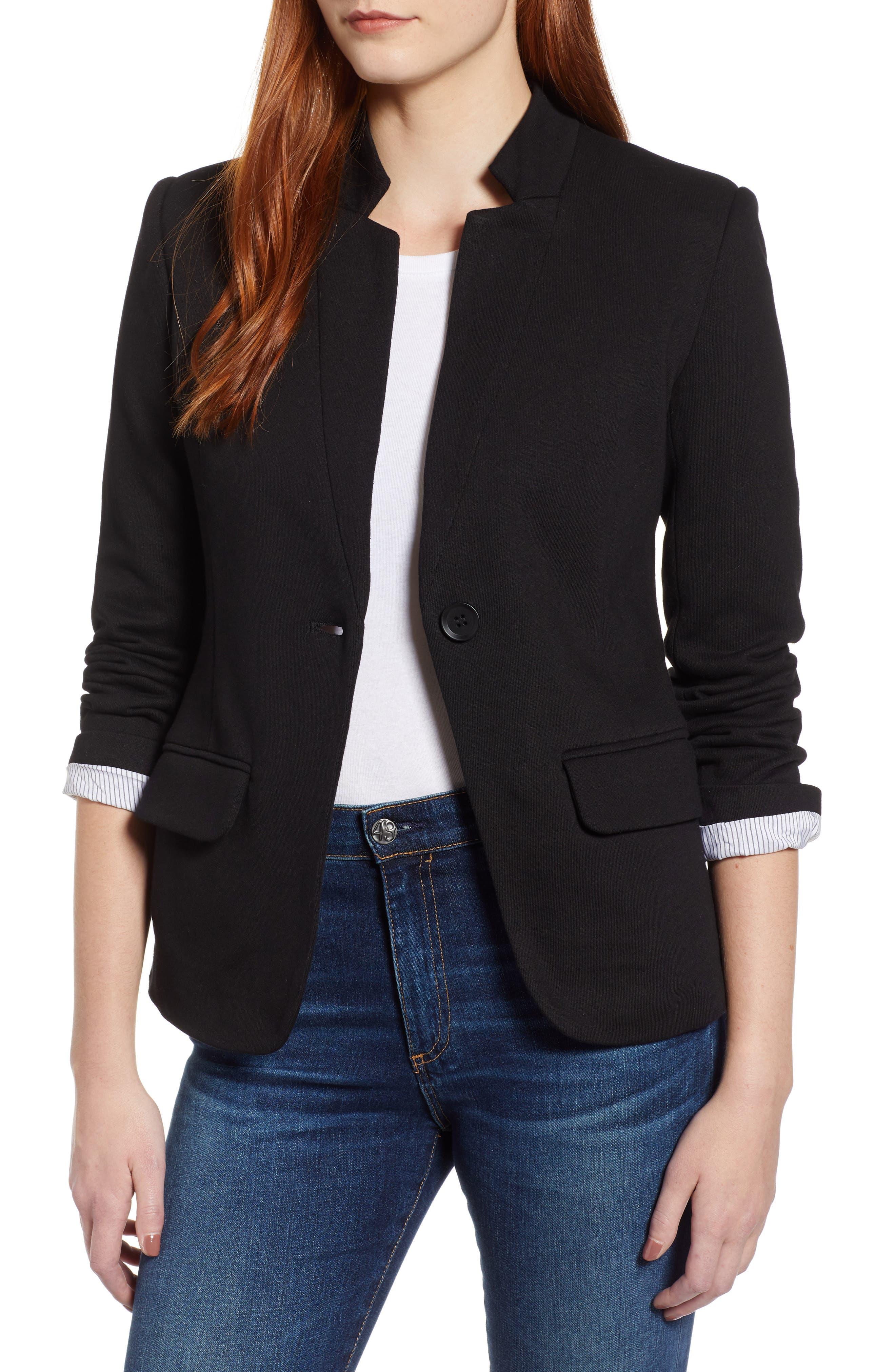 Notch Collar Cotton Blend Blazer, Main, color, BLACK