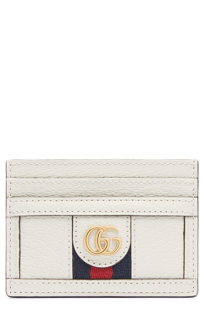 GUCCI Ophidia Leather Card Case, Main, color, 100