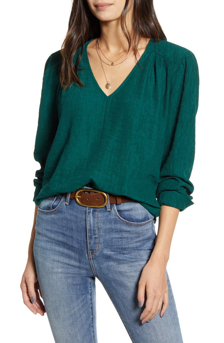 TREASURE & BOND V-Neck Top, Main, color, GREEN BOTANICAL