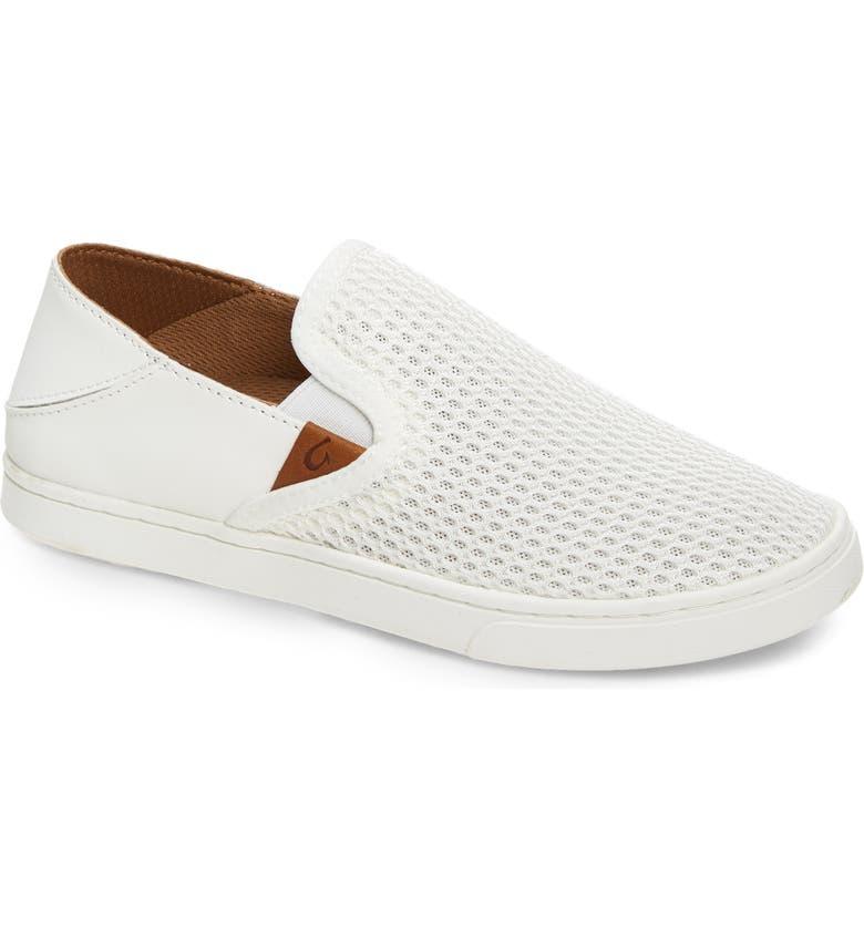 OLUKAI 'Pehuea' Slip-On Sneaker, Main, color, BRIGHT WHITE FABRIC