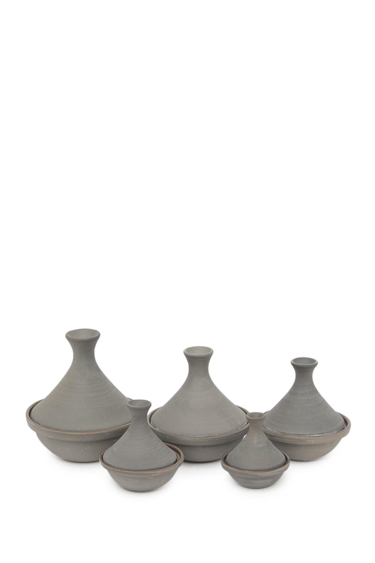 Image of ROOST Safi Stoneware Tagine - Mushroom - Set of 5