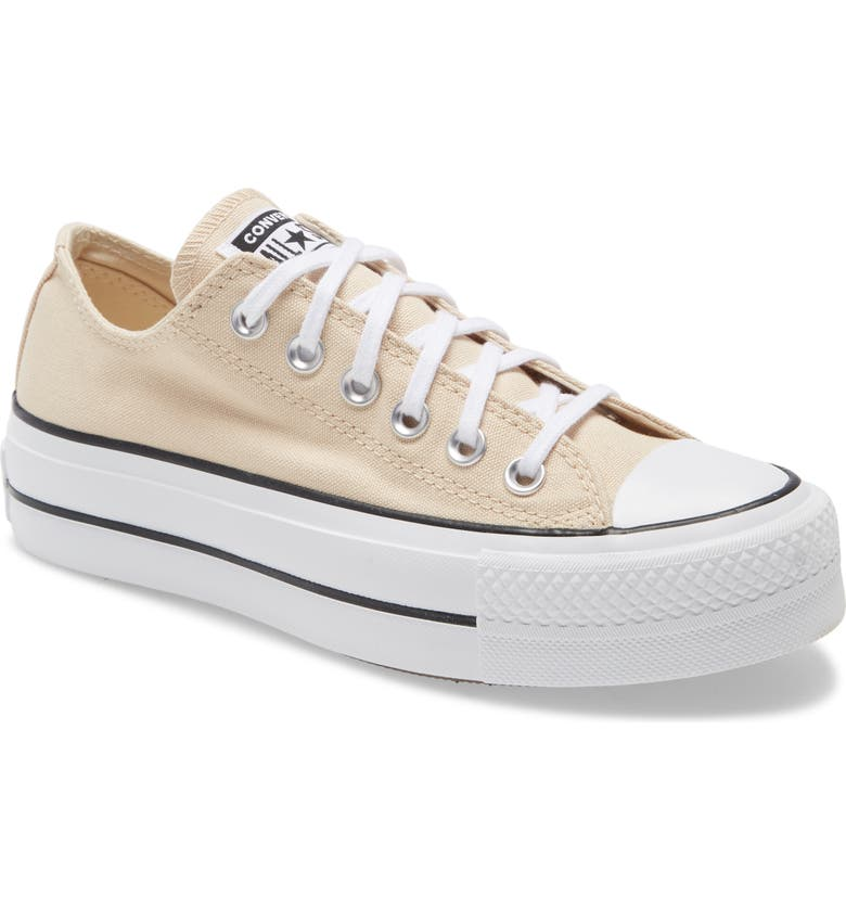 CONVERSE Chuck Taylor<sup>®</sup> All Star<sup>®</sup> Lift Low Top Platform Sneaker, Main, color, BEIGE/ WHITE/ BLACK