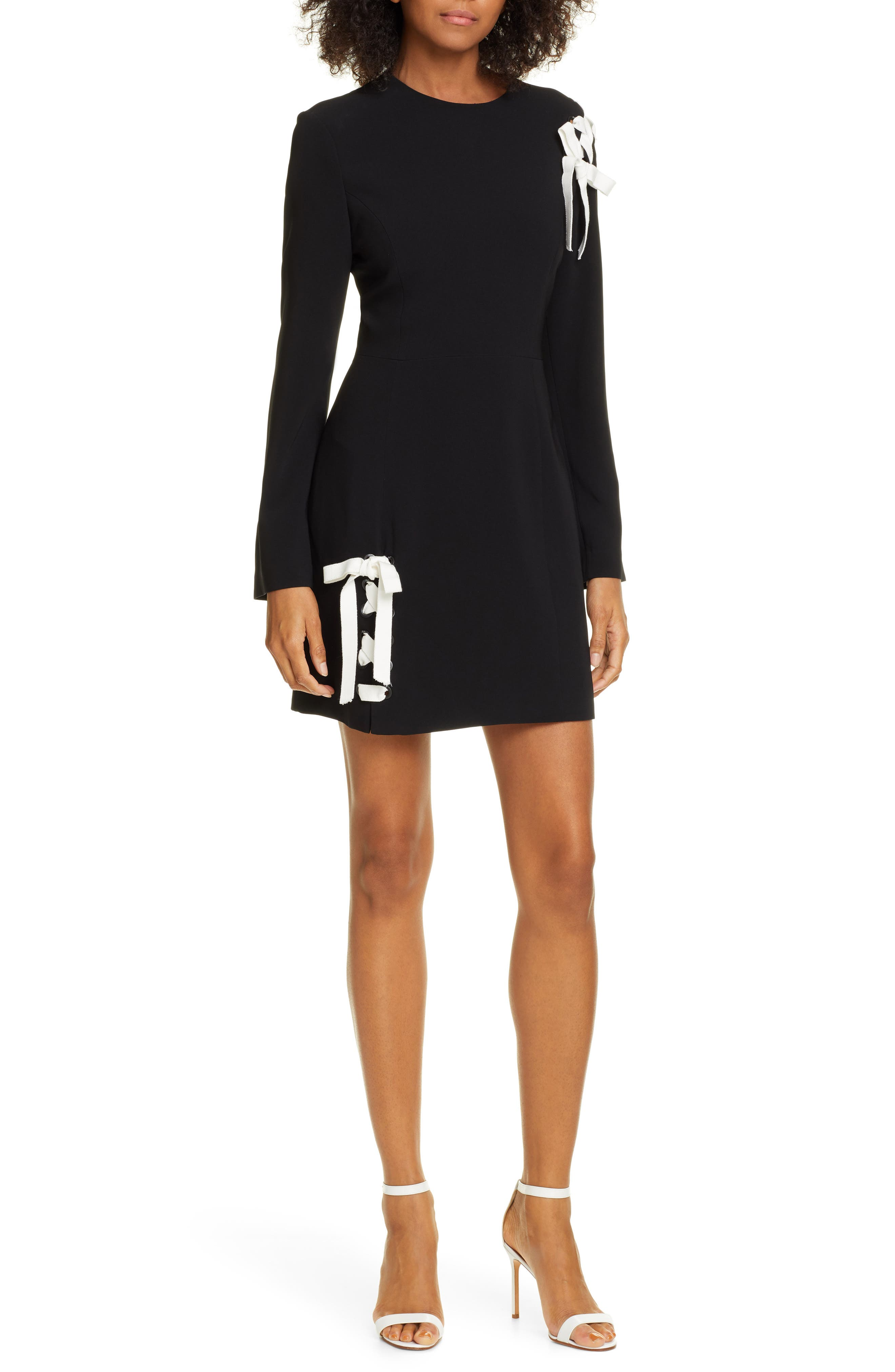 Cinq A Sept Izella Lace-Up Long Sleeve Dress, Black