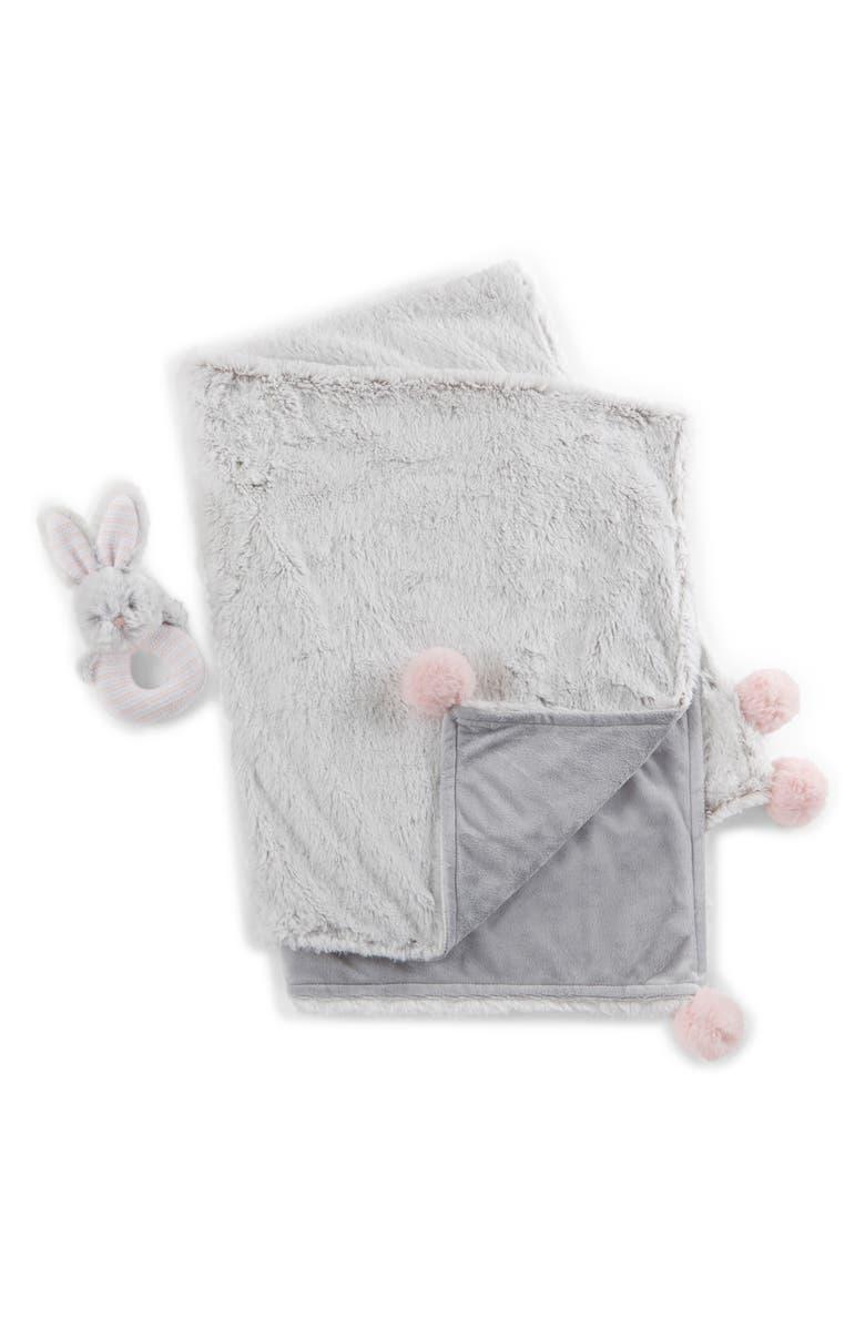 BABY ASPEN Luxury Blanket & Plush Rattle Set, Main, color, 060