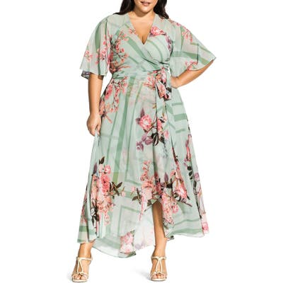Plus Size City Chic Sierra Maxi Wrap Dress, Green